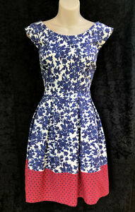STELLA  Fit & Flare Pleated Colour Block Blue, White & Red Cotton Dress sz 12