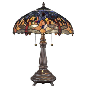 Tiffany Red Dragonfly Table Lamp 25 in. Bronze Pull Chains Stained Glass Shade