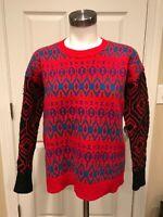 J. Crew Red, Purple, & Blue Patterned 100% Lambs Wool Sweater, Size XS