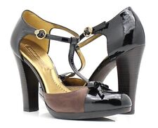 BCBG Max Azria Hade black patent leather and distressed brown pump 10 Med $225