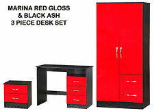 Red Gloss & Ash Black 3 Piece Set | Combi Wardrobe + Dressing & Bedside Table