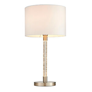 Table Lamp Touch Dimmer LED Bubble Effect Stem Fabric Shade Satin Chrome Plate