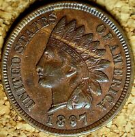 1897 Indian Head Cent - AU+ HIGHLY DETAILED-4 DIAMOND Old Cleaning, Dark (K439)