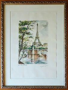 "Gabrielle Ardant Signed Watercolor ""La tour Eiffel"" Eiffel Tower Print Framed"