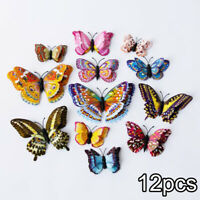 12pcs 3D Butterfly Wall Stickers Home Bedroom Double Layer Background Decoration