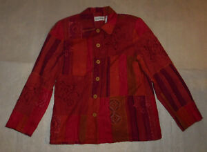 Alfred Dunner Womens Red Quilt Sequin Floral Long Sleeve Linen Blend Blouse 10