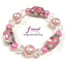 Pink Ribbon Breast Cancer Awareness Care for Cure Glass Stretch Bracelet New