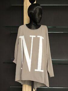 Italy T-Shirt Shirt oversize Vokuhila Schriftzug NI CE taupe schwarz Gr. 38-46