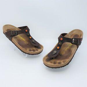 Birkenstock Gizeh Dark Brown Oiled Leather Rhinestone Sandals Size 38 US L7 M5