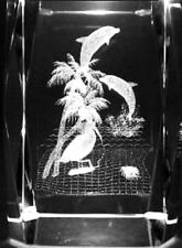 3D DOLPHINS PALM TREES CRANE 3 Inch GLASS PAPERWEIGHT Laser Etched Crystal Cube