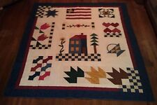 Joann's Year at Home Americana Patriotic 77x89 Full size quilt Country Handmade