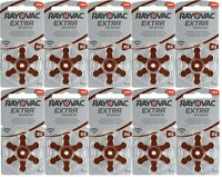 60 x Rayovac 312 Hearing Aid Batteries Extra Advanced PR41 1.45V Zinc Air