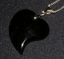 Ciondolo agata nera,cuore collana in Argento Pietra Cristalloterapia 8,8G