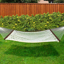 Braided Rope Double Hammock 2 Person Woven Cotton w/ Wood Spreader Multi Season