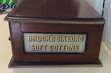 Antique Brook's Cotton Sewing Thread Box Shop Display C.1800's Glass Advertising
