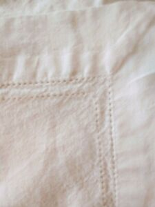 White Cotton Rectangle Tablecloth. Nice detailed border. Farmhouse. Shabby Chic.