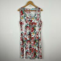 Blue Illusion Womens Dress Large Multicoloured Floral Sleeveless Scoop Neck