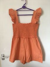 ASOS Peach Cheesecloth Sherred Playsuit Size 14 VGC