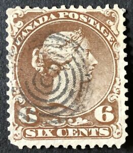CANADA 1868- # 27 - QUEEN VICTORIA 'LARGE QUEEN' 6c DARK BROWN - 7 RING CANCEL