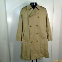 MISTY HARBOR Vtg Long RAINCOAT Rain Trench Coat Mens Size M 40 khaki w/ liner