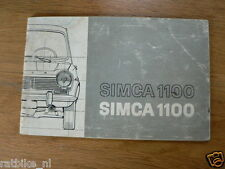 SIMCA 1100 HANDLEIDING INSTRUCTION BOOK 19?? OWNERS MANUAL