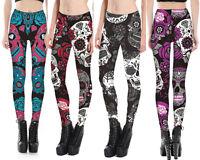 Leggings Sugar Skull Tattoo Floral Diamond Rockabilly Trend Red /Purple Black