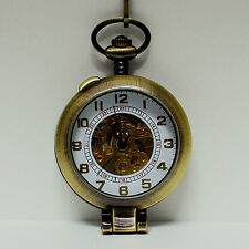 Antique Style Skeleton Mechanical White Bronze Can Stand Pocket Watch with Chain