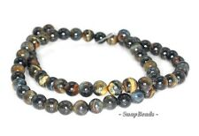 6MM TWILIGHT BLUE TIGER EYE GEMSTONE GRADE A CHATOYANT ROUND 6MM LOOSE BEADS 16""