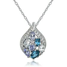 Sterling Silver Tanzanite Aquamarine London Blue & White Topaz Teardrop Necklace