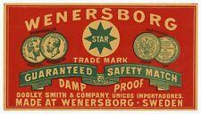 Antique, Unused Wenersborg Star Safety Match Label