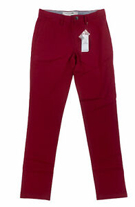 NEW Lacoste Slim Fit Mens Chino Pants Trousers Flat Front Stretch Bordeaux Red