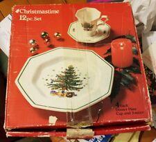 Nikko Christmastime 20 Pc Set Christmas Tree 4 Dinner Cups Saucers Napkins Glass