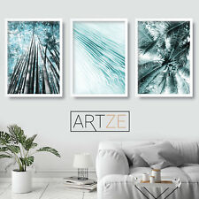 Palm Ferns Abstract Aqua Turquoise Wall Art Print Botanical Picture Poster Mix
