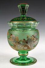 Magnificent Antique Czech Moser Glass Jar Wolfgang Berndt Enameled C.1910