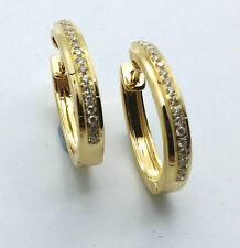 Diamond Hoop Earrings Huggies 18ct Yellow Gold Hand Made TDW 0.29ct G/VS1