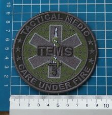 Tactical Medics EMS TEMS Care Under Fire Paramedic Patch logo Sew on Embroidery