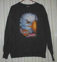 Harley-Davidson VINTAGE 1992 3D EMBLEM Sweatshirt Eagle Flag Bar & Shield XL