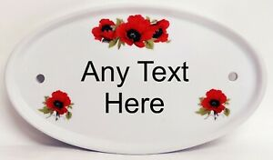 Personalised Red Poppy Oval Horizontal House Door Plaque Ceramic Sign Any Text