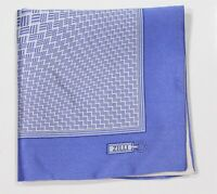 Zilli Paris Blue Abstract Thick Silk Double Rolled Pocket Square
