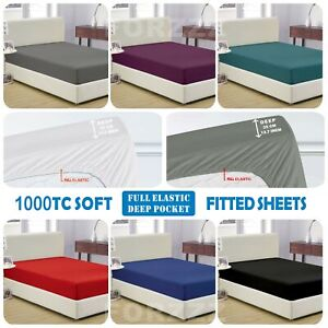 1000TC Ultra Soft Fitted Sheet Super King/King/Queen/Double/K Single/Single Bed