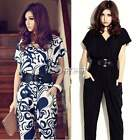 Women Fashion Short Sleeve V-neck Jumpsuit Pants Shirts Playsuit With Waistband