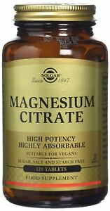 Solgar Magnesium Citrate Food Supplement For Vegans Vegetarian 120 Tablets