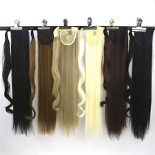 Human Hair Ponytail 100% Remy Clip In Hair Extensions Wrap Silky Straight Hair