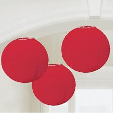 3 Rouge Lanternes Noël St.Valentin Fête pendant de Fête Décorations 24cm