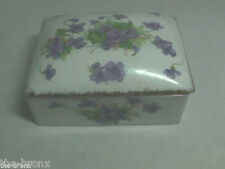 Trinket Coin Jewelry Candy BOX by FERN with Violets and Gold Trim