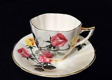 Vintage Royal Victoria Teacup & Saucer - Long Stemmed Pink & Yellow Roses
