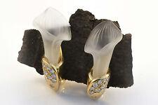 Schmuck Bergkristall Ohrclips Mit Brillanten Blüten Design 750 Gold 18 Karat