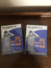 Pleomax DVD-R 8X 4.7 GB Samsung Music /Movie/ Data (2 Packs) Sealed.