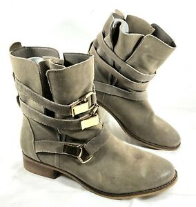 GUC Steve Madden HAGGLE 3 belt Gold hardware Ankle Boots Gray Sz 9