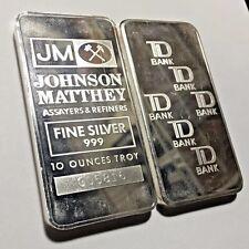 * Vintage JM Johnson Matthey TD BANK Canada 10 oz 999 Silver Bar ~ Scarce *